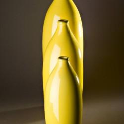 Bouteille design, vase design céramique Sud jaune, Bernex