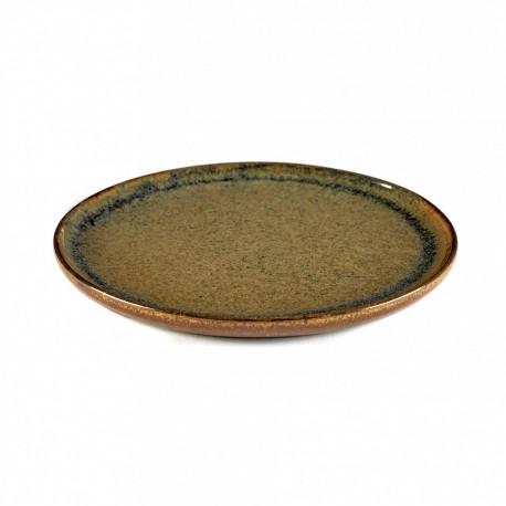 Assiette dessert 21 cm grès émaillé Surface Indi Grey, Serax par Sergio Herman
