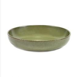 Assiette creuse 19 cm grès émaillé Surface Camo Green, Serax par Sergio Herman
