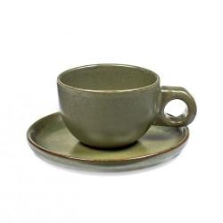Tasse et sous-tasse à café grès émaillé Surface Camo Green, Serax par Sergio Herman