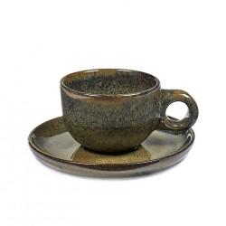 Tasse et sous-tasse à café grès émaillé Surface Indi Grey, Serax par Sergio Herman
