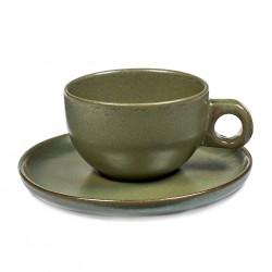 Tasse et sous-tasse à thé 25cl en grès émaillé Surface Camo Green, Serax par Sergio Herman (par 4)