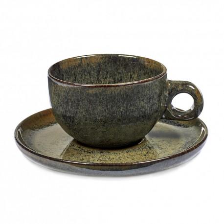 Tasse et sous-tasse à thé grès émaillé Surface Indi Grey, Serax par Sergio Herman