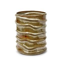 Vase bas céramique Structure Bouleau blanc Anita Le Grelle, Serax