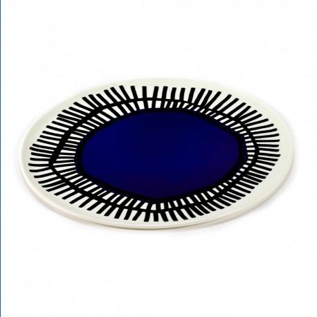 Assiette pizza porcelaine Table Nomade bleu 32cm Paola Navone, Serax