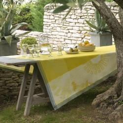 Petit Carré déco pur lin Jardin d'orient Cedrat, Le Jacquard Français