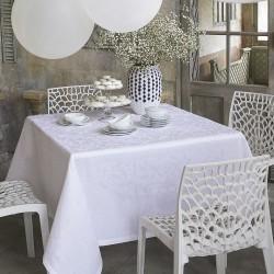 Nappe blanche Venezia Cristal lin et polyester, Le Jacquard Français