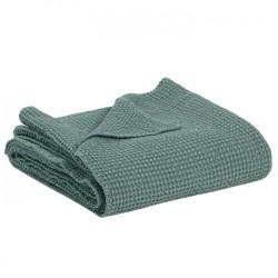 Jeté de lit coton stonewashed Maïa Vert de gris, Vivaraise