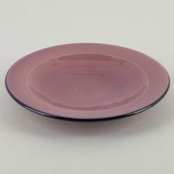 Assiette plate céramique Sud framboise, vaisselle colorée Bernex