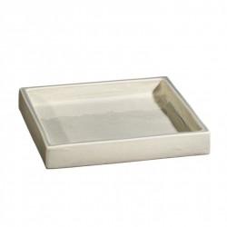 Plateau carré céramique 18x18cm Sud perle, Atelier Romain Bernex