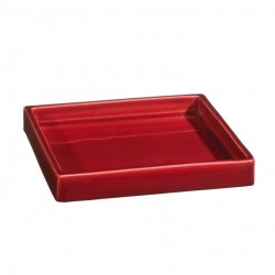 Plateau de service ou plat carré céramique 18x18cm Sud rouge, Atelier Romain Bernex