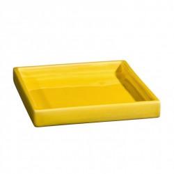 Plateau de service ou plat carré céramique 18x18cm Sud jaune, Atelier Romain Bernex