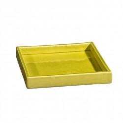 Plateau de service ou plat carré céramique 18x18cm Sud pistache, Atelier Romain Bernex