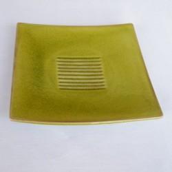 Assiettes plates carrées Toba tilleul Jars Céramistes (X 4)