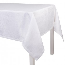 Nappe sur mesure Tivoli Blanc pur lin laize 245cm, Le Jacquard Français