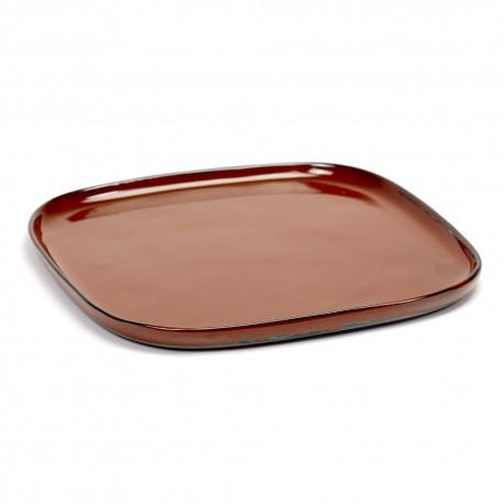 Assiette carrée L 25.4 cm Terres de rêves Rust, Serax par Anita Le Grelle