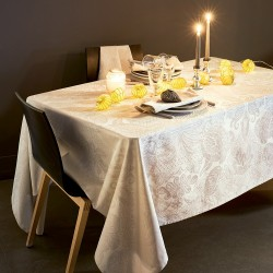 Nappe coton enduit Mille Isaphire Parchemin, Garnier-Thiébaut