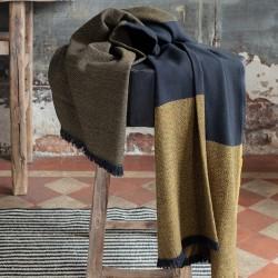 Plaid Duo Cumin 150x200 100% laine Mérinos d'Arles Antique, Brun de Vian-Tiran