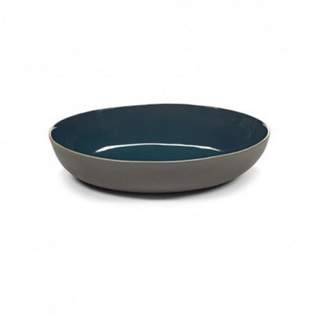 Plat de service ovale 33x29x6.5cm en grès bleu RUR:AL, Serax par Anita Le Grelle