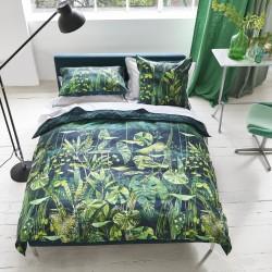 Parure de lit en satin de coton haut de gamme Arjuna Leaf Viridian, Designers Guild