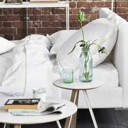 Parure de lit en percale de coton Astor Vert lime et Gris, Designers Guild