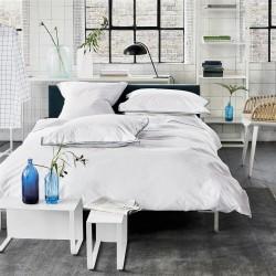 Parure de lit en percale de coton Astor Bleu nuit et Turquoise, Designers Guild