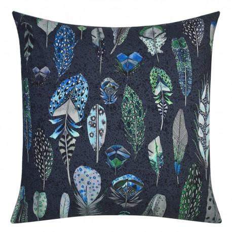 Taie d'oreiller carrée haut de gamme en percale de coton Quill Bleu Cobalt, Designers Guild