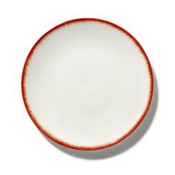 Assiettes porcelaine Serax Dé Ann Demeulemeester 24cm Blanc/Rouge V2