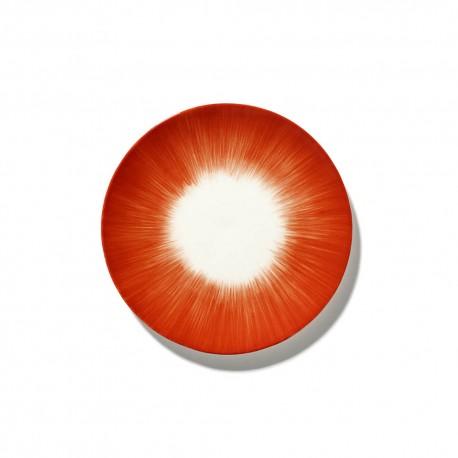 Assiettes porcelaine Serax Dé Ann Demeulemeester 17.5cm Blanc/Rouge V5