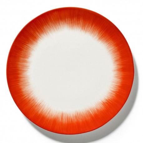 Assiettes porcelaine Serax Dé Ann Demeulemeester 28cm Blanc/Rouge V5