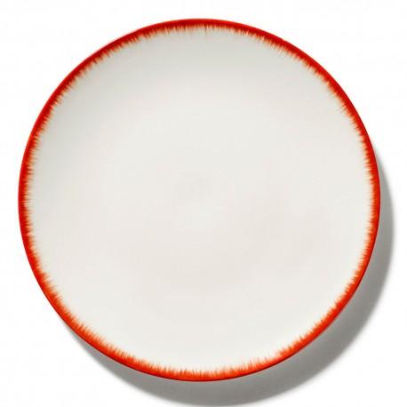 Assiettes porcelaine Serax Dé Ann Demeulemeester 28cm Blanc/Rouge V2