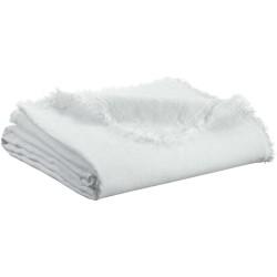 Plaid Zeff Nomade Blanc en lin et coton, Vivaraise