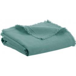 Plaid Zeff Nomade vert Prusse en lin et coton, Vivaraise