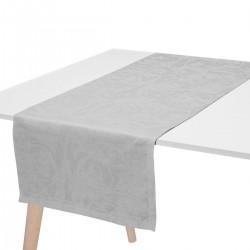 Chemin de table pur lin Tivoli Perle, Le Jacquard Français