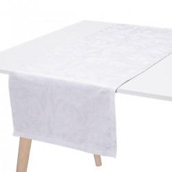 Chemin de table pur lin Tivoli Blanc, Le Jacquard Français