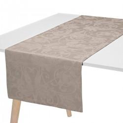 Chemin de table pur lin Tivoli Poivre gris, Le Jacquard Français