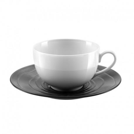 Médard de Noblat - Tasse et soucoupe à café 11cl grès & porcelaine Escale Noir