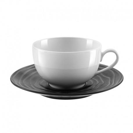 Médard de Noblat - Tasse et soucoupe à thé 18cl grès & porcelaine Escale Noir