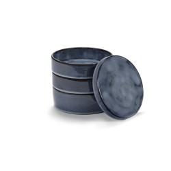 Set de 3 bols et couvercle céramique D14cm Pure Bleu indigo, Pascale Naessens