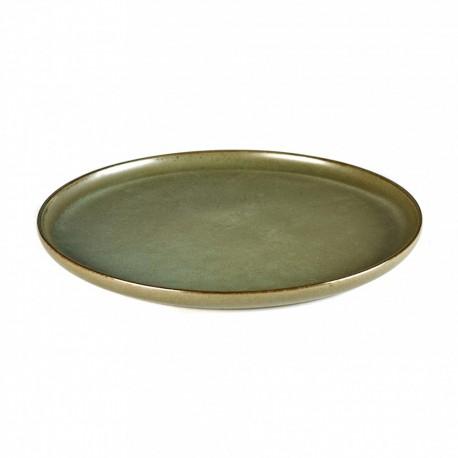 Assiette plate 24 cm grès émaillé Surface Camo Green, Serax par Sergio Herman