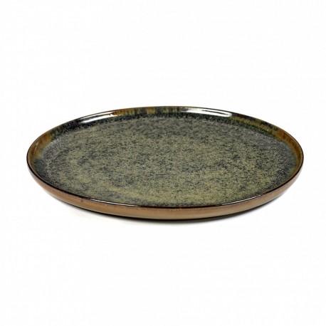 Assiette plate 24 cm grès émaillé Surface Indi Grey, Serax par Sergio Herman