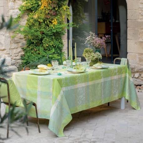 Nappe enduite sur mesure Mille Dentelles Prairie, laize 180cm, Garnier-Thiébaut