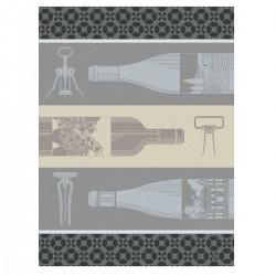 Torchon Vin en Bouteille Blanc, Le Jacquard Français