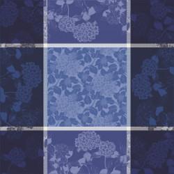 Petit carré déco anti tache coton Bio Hortensias Bleu, Garnier-Thiébaut