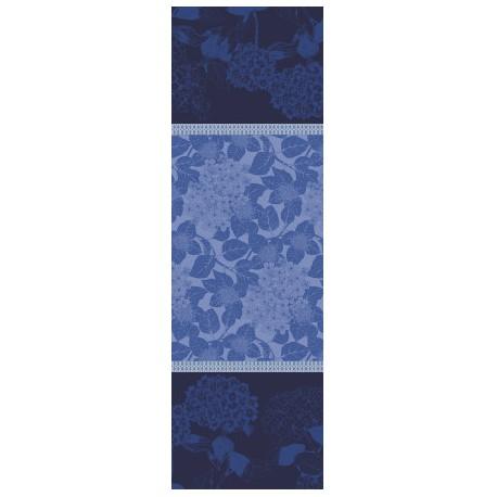 Chemin de table anti tache coton Bio Hortensias Bleu, Garnier-Thiébaut