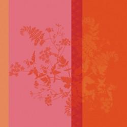 Serviettes de table jacquard pur lin Ombrelles Rose, Garnier-Thiébaut (par 4)