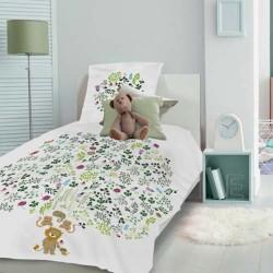 Parure de lit enfant Herbe à chats Blanc - Ensemble housse de couette et taie d'oreiller carrée en coton, Garnier-Thiébaut