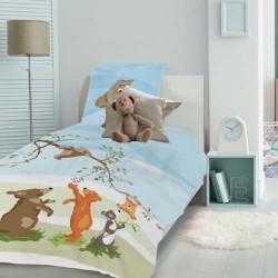 Parure de lit enfant Petits oursons Prairie - Ensemble housse de couette et taie d'oreiller carrée en coton, Garnier-Thiébaut