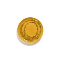 Serax Feast Ottolenghi - Coffret de 2 Assiettes dessert grès 22.5cm Tourbillon de points Jaune/Noir