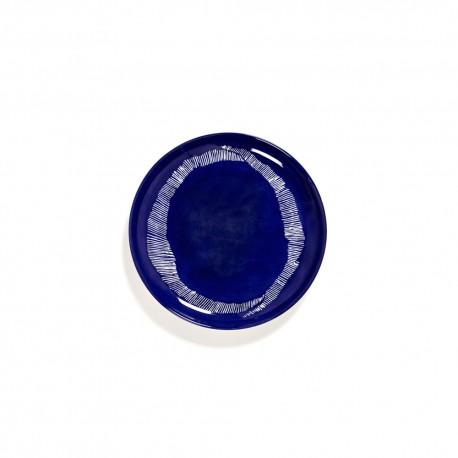 Serax Feast Ottolenghi - Assiettes dessert grès 22.5cm Tourbillon Lapis Lazuli/Blanc